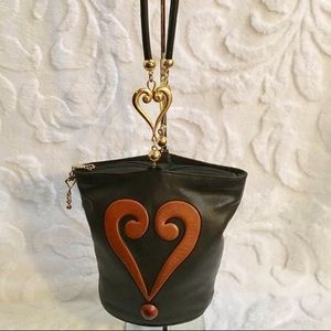 Moschino black brown leather bag gold heart charm